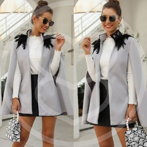 PLUS Grey Feather Detail cape trench pea Coat